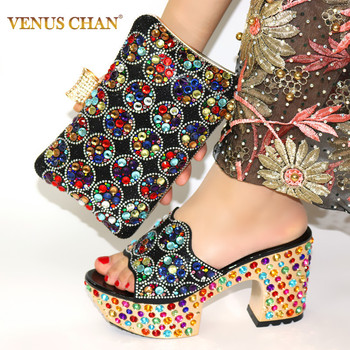 Black Color Matching Women Shoe and Bags Set Decorated with Rhinestone African Shoe and Bag Set for Party In Women Italy Shoes doershow latest style african shoes and bag set new italian high heels shoes and matching bag set for party dress kh1 23