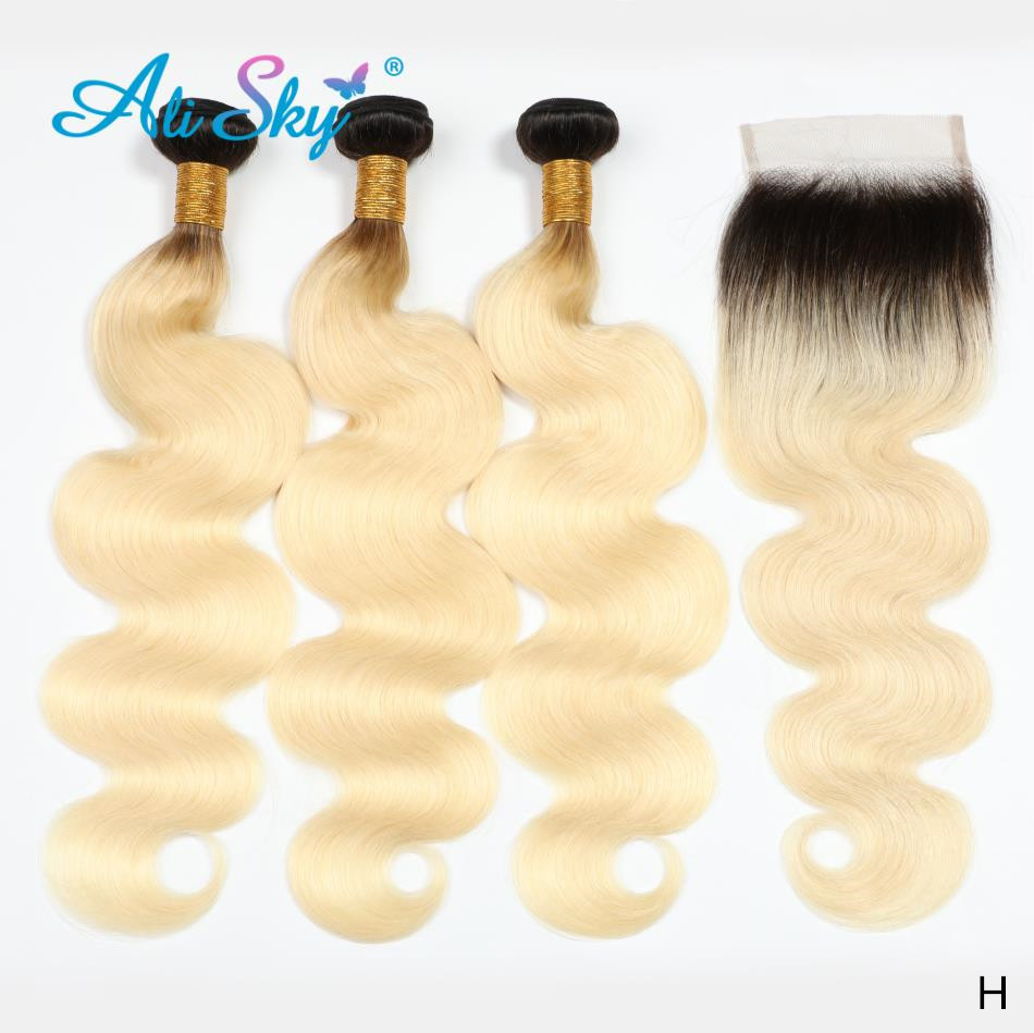 Ali Sky Brazilian <font><b>Body</b></font> <font><b>Wave</b></font> <font><b>Hair</b></font> Human <font><b>Hair</b></font> Extensions 10-24 Inch 1B/<font><b>613</b></font> Blonde Remy <font><b>Hair</b></font> Weaving <font><b>3</b></font> <font><b>Bundles</b></font> With Lace Closure image