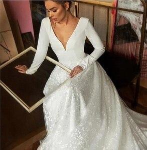 Image 2 - Vintage Wedding Dress Tulle A Line Sexy Deep V Neck Bride Wedding Gown Long Backless Holow Party Bridal Dress vestido de novia