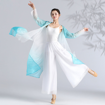 Long Sleeve Classical Chinese Folk Dance Costume Camisole Cloak Pants For Women Professional Stage Dancing Wear Clothes