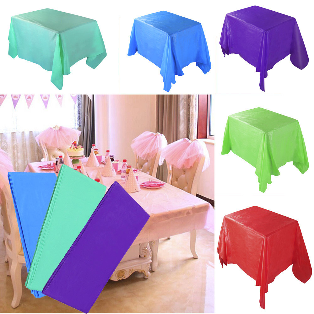 183cmx137cm Plastic Disposable Tablecloth Solid Color Wedding Birthday Party Table Cover Rectangle Desk Cloth Wipe Covers Sale