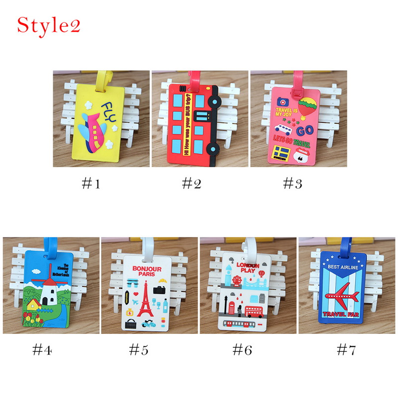 Litthing Luggage Card Silicone Name Hang Tag Creative National Style Multi-color Geometric Cartoon Hangtag For luggage/Suitcase