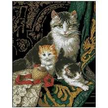 Кошки семья Животные узоры Счетный крест 11ct 14ct diy Вышивка