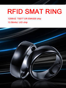 RFID 125KHZ or 13.56MHZ Black Ceramics Smart Finger Ring Wear for Men or Women