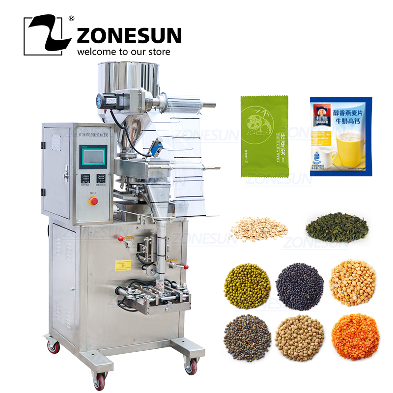 ZONESUN Intelligent Granular Material Filling Sealing Machine For Coffee Soybean Sunflower Seeds Packaging Of Flat Pillow Bags