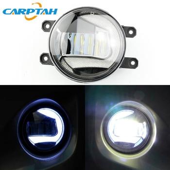 CARPTAH 2PCS 12V 30W 2-in-1 LED Daytime Running Lights DRL Auto Bulb Car LED Fog Lamp Projector For Toyota Harrier 2014 - 2016