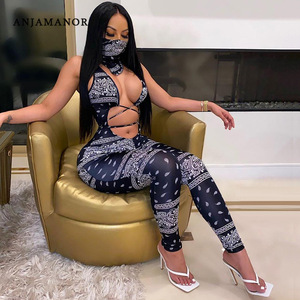 ANJAMANOR Bandana Print Sexy Jumpsuits Women Clothes Deep V Neck Hollow Out Bodycon Rompers Club Wear One Piece Outfit D87-CZ26