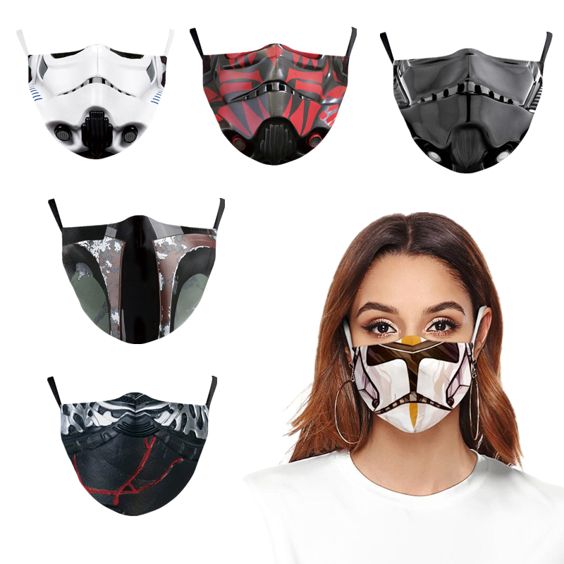 3D Star Wars Mask Cosplay Mandalorian Imperial Stormtrooper Fashion Funny Dust Mask Anti-Fog Washable With Filter