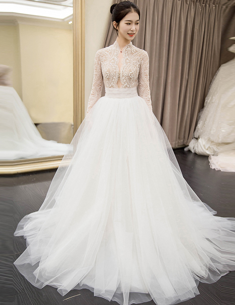 2019 The Latest Arabic Pearls Lace Off The Shoulder Wedding Dress V-neck Bridal Gowns Vestido De Novia