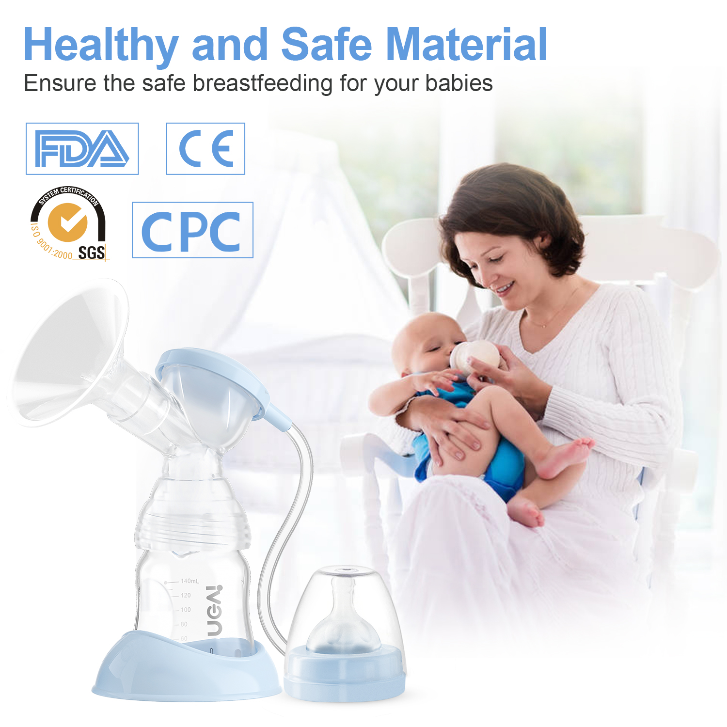 Electric Double Breast Pumps,Nursing Hospital Grade Breastfeeding Pump Strong Suction Power with Two Sizes Flange Choose