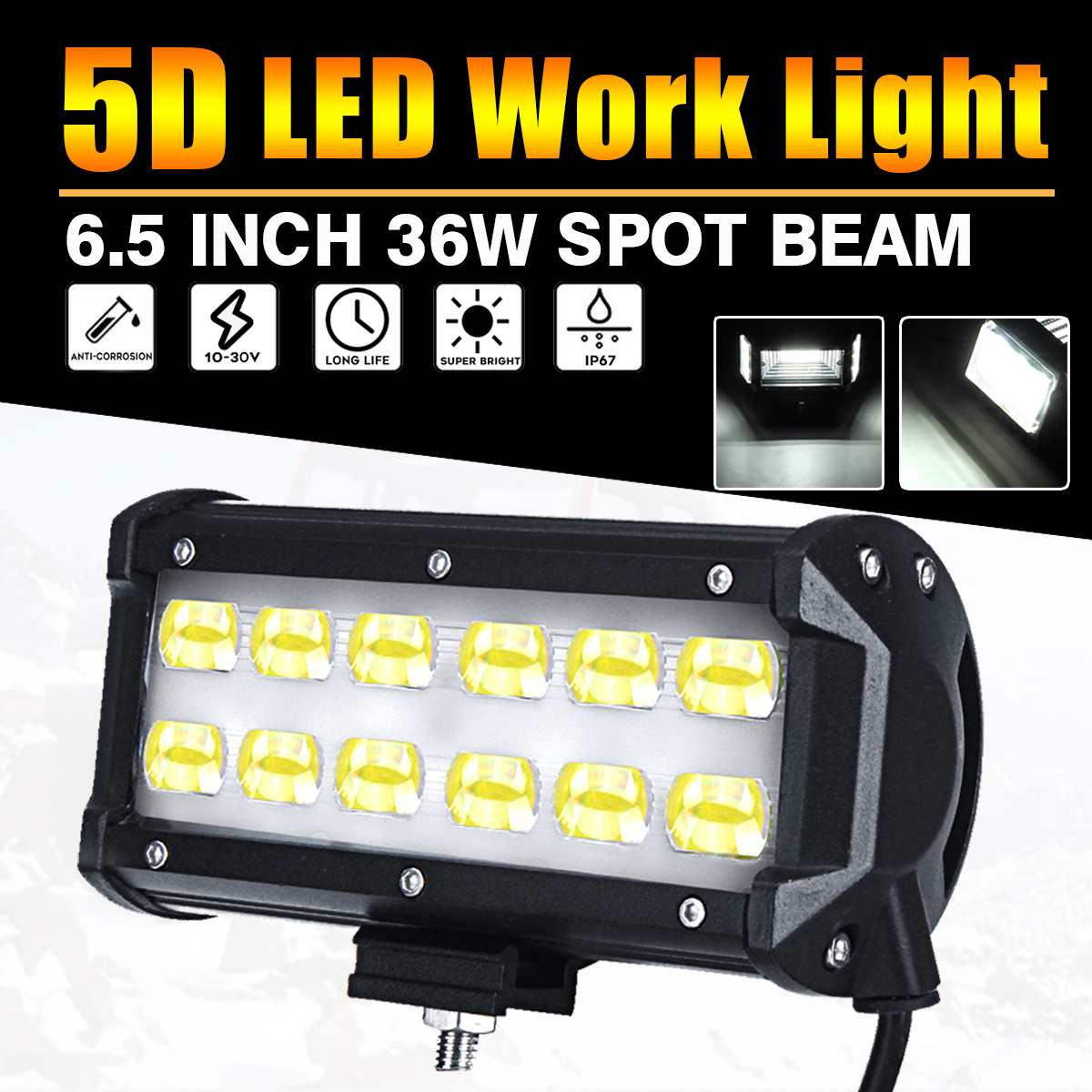 5D 36W LED Work Light Spot Beam For Boat Truck Offroad 4WD SUV 6000K IP67 White Lamp image
