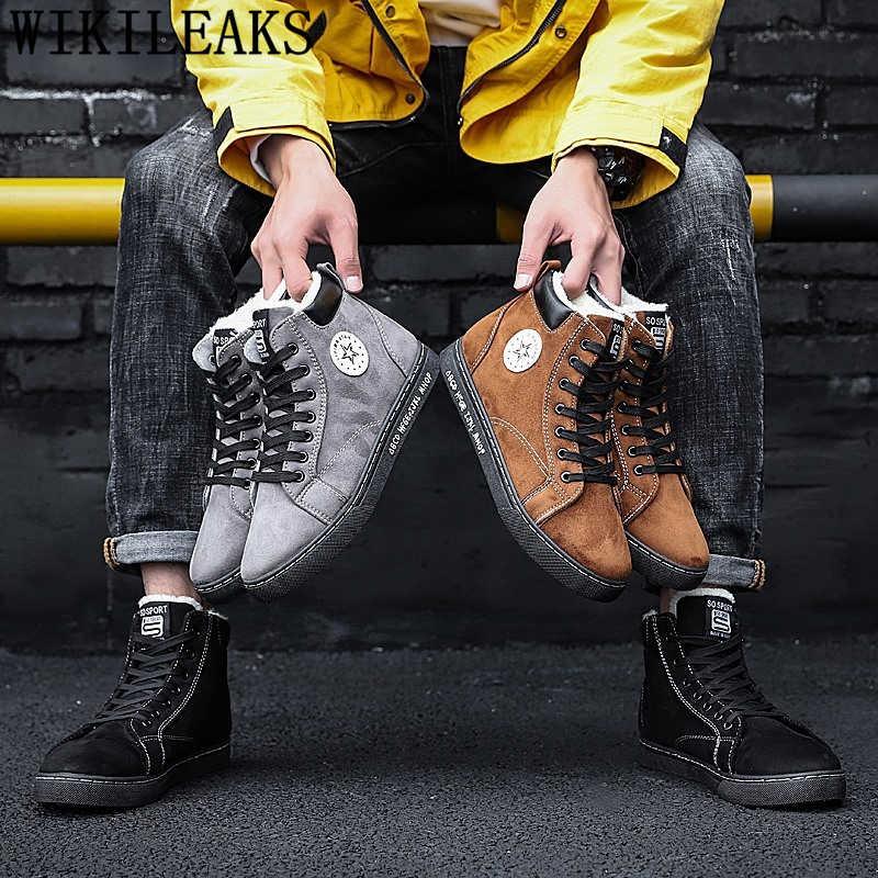 ข้อเท้ารองเท้าผู้ชาย + ชายฤดูหนาวรองเท้าผู้ชายรองเท้าบู๊ทหิมะ sepatu boot pria zapatos de hombre ayakkabi обувь мужская ботинки мужские