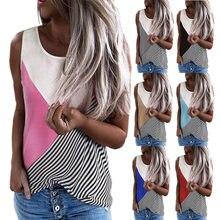 2021 Women Tank Top New Fashion Tee Shirts Round Neck Contrast Striped Print Blouse Loose Vest Sleeveless Ladies Summer T Shirh