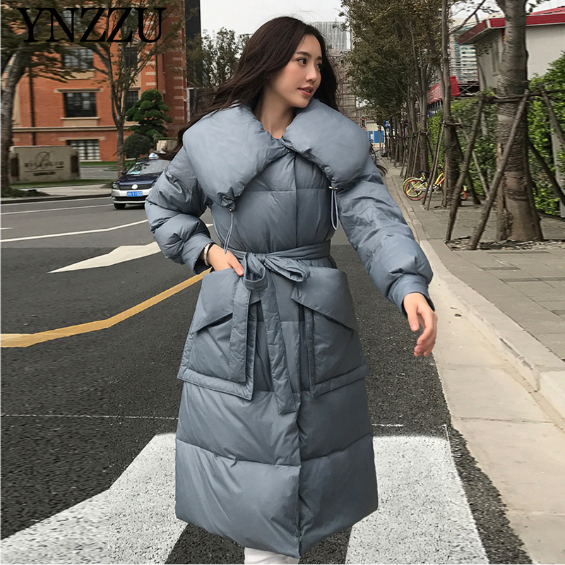 Vintage Women Winter Down Jacket 2019 Newest Turn Down Collar Female Long Outwear Thick Warm With Belt Coat Casual YNZZU 9O105
