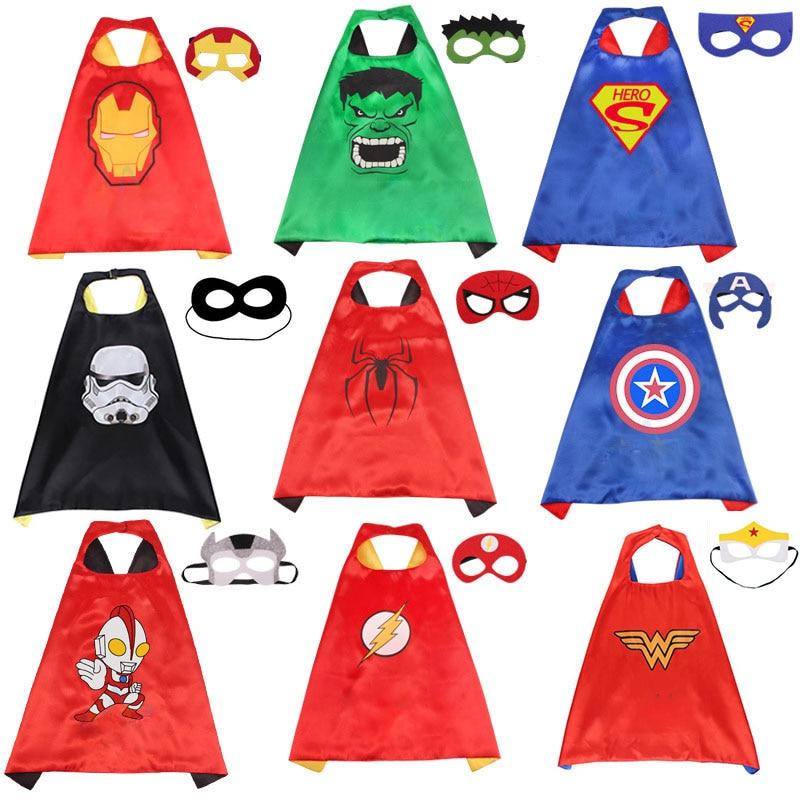 Marvel Avengers Toys Cosplay Cloak Cape Shawl The Flash Captain America Thor Hulk Halloween Cosplay Toy + Eye Mask