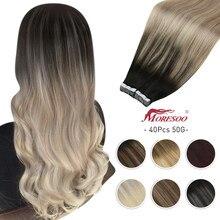 Moresoo fita da extensão do cabelo no cabelo humano 40 pces balayage ombre cor 60-100 g/pacote máquina remy trama da pele cola no adesivo