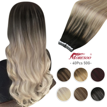 Moresoo Hair Extension Tape in Human Hair 40 Pcs Balayage Ombre Color 60-100g/pack Machine Remy Skin Weft Glue on Adhesive
