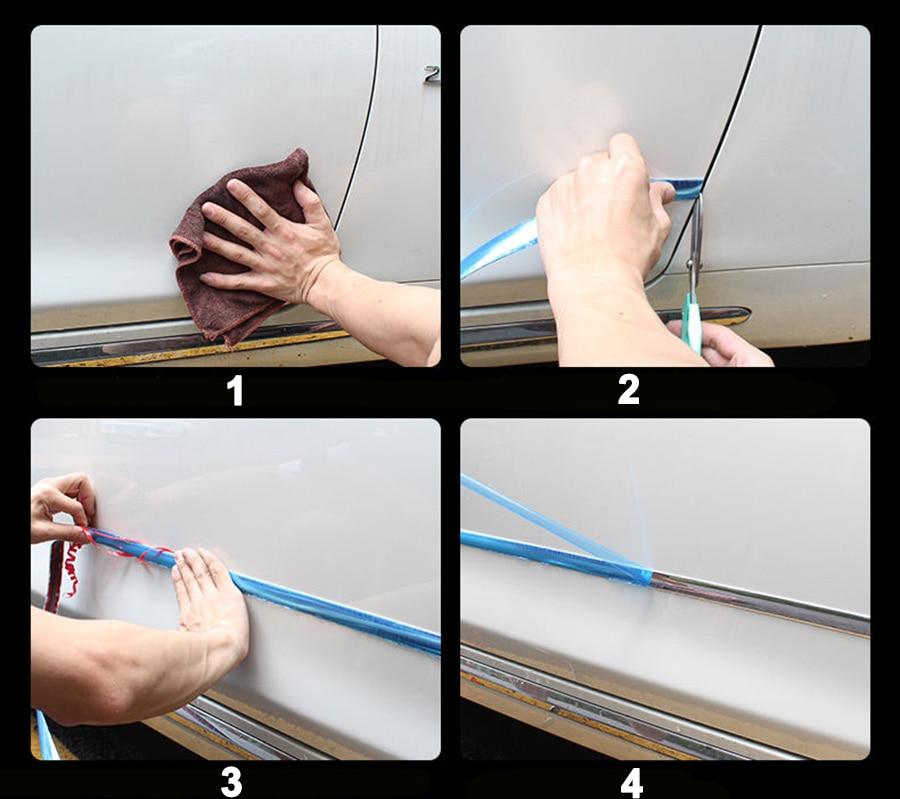 PVC universel corps côté moulures chromé bande latérale jupe avant arrière pare-chocs fenêtre Sitcker décoration ruban adhésif 3M