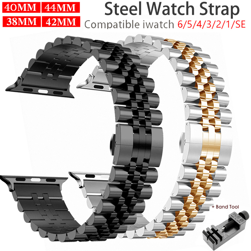 Paslanmaz çelik kayış Apple saat bandı 6 SE 5 4 3 40mm 44mm metal 38mm 42mm yedek bilezik spor Band için iWatch 6 5 3