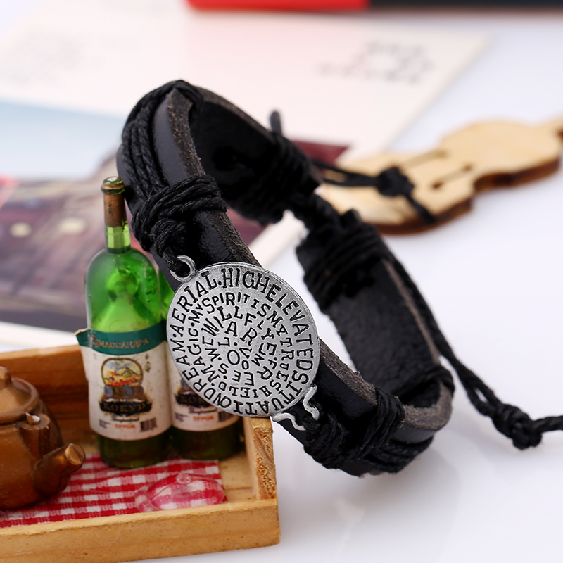 Creative letter leather bracelet personalised weave bracelet braided leather bracelet for men adjustable Jewelry for women in Charm Bracelets from Jewelry Accessories