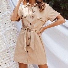 Women Casual Short Sleeve Lace Up Shirt Dress Safari Style Work Office Pockets Dress Elegant Button Lapel Mini Dress