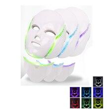 Máscara facial fóton terapia 7 cor led rosto instrumento pescoço rejuvenescimento da pele anti acne rugas tratamento de beleza salão cuidados com a casa