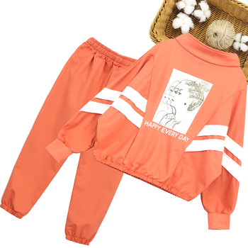 Girls Sport Clothes Striped Clothing For Girls Coat + Pants 2PCS Clothes Girl Teenage Children's School Clothing 6 8 10 12 14 2