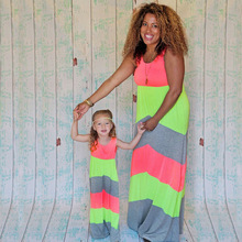 Mother Daughter Dresses Sleeveless Colorblock Long Dress Mother Daughter Clothes Mom and Daughter Dress Family Matching Clothes