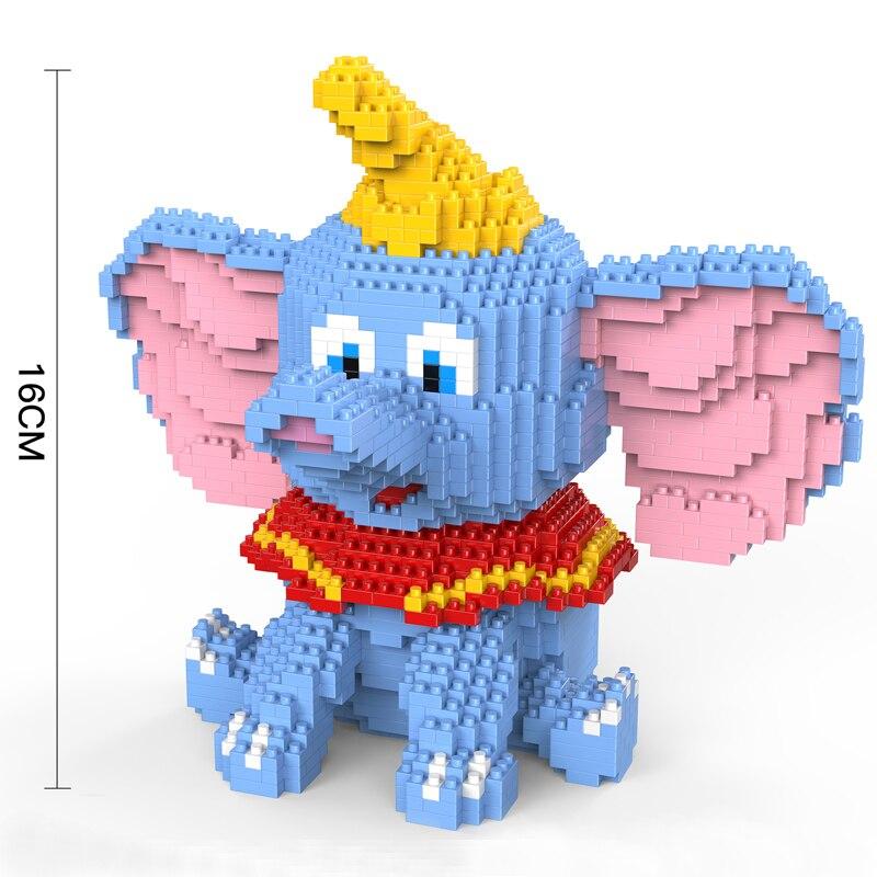 Fly Elephant Mini Blocks Cartoon Building Blocks DIY Diamond Figures Dumbo Elephant Brick Creative Toys for Children 1787pcs