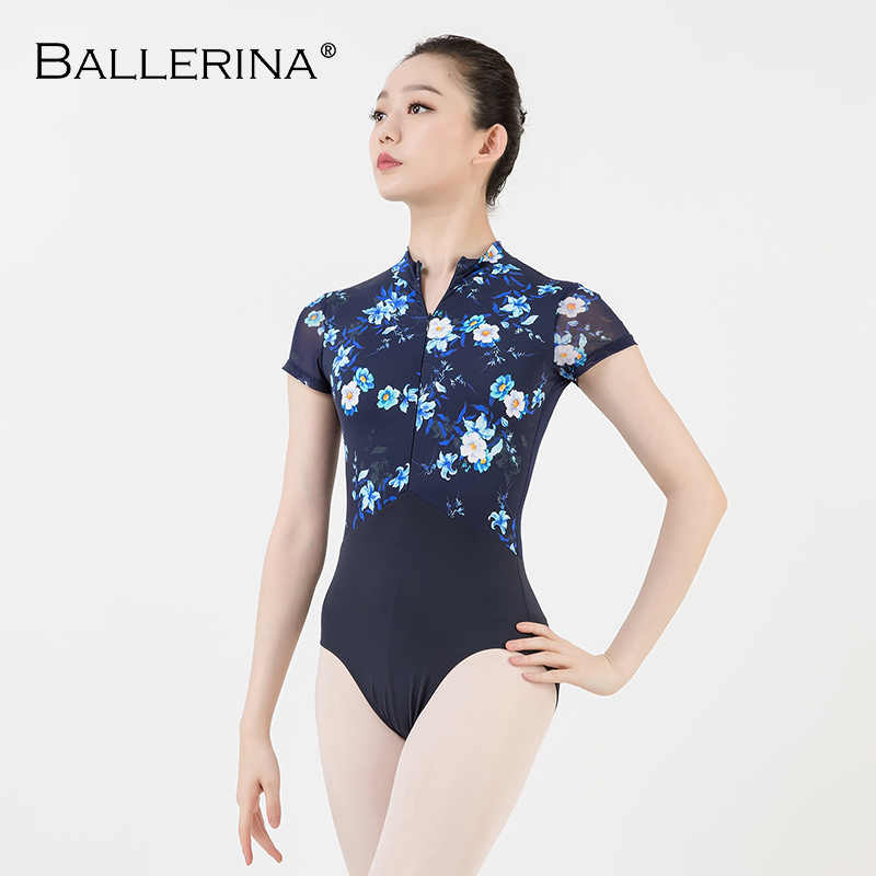 women ballet gymnastics printing Leotards adult black dark blue Turtleneck short sleeve leotard Ballerina 3524