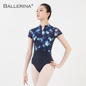 Image 1 - women ballet gymnastics printing Leotards adult black dark blue Turtleneck short sleeve leotard Ballerina 3524