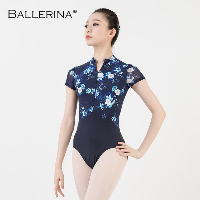 women ballet gymnastics printing Leotards adult black dark blue Turtleneck short sleeve leotard Ballerina 3524