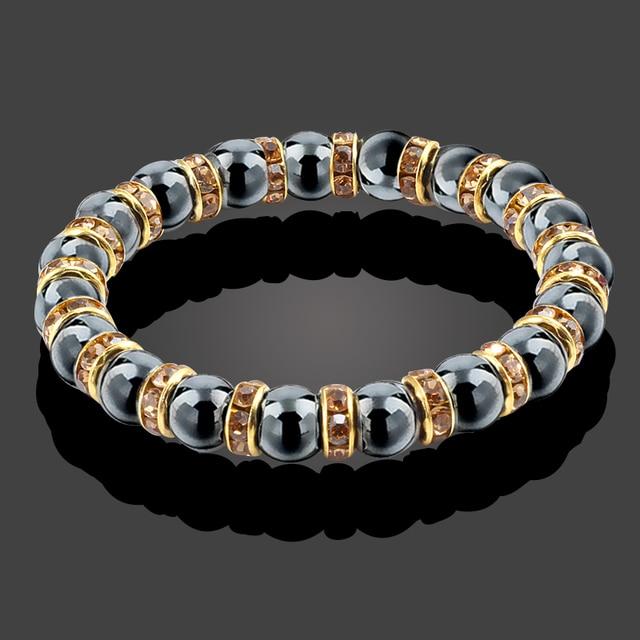 Natural Hematite Beads Bracelets Men No-Magnetic Health Protection Women Jewelry Charm Crystal Stone Stretch Bracelet & Bangle 6