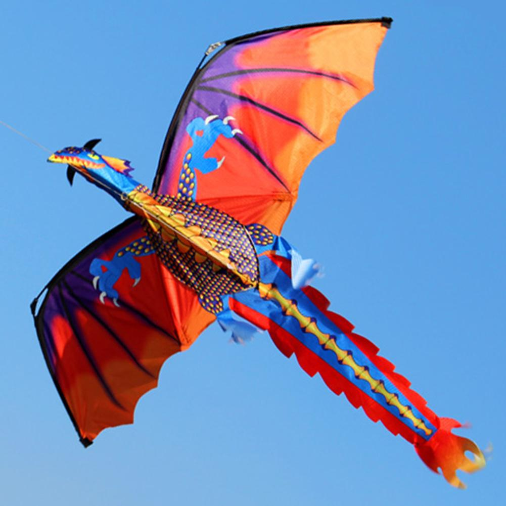 Outdoor Colorful 3D Dragon Flying Kite With 100m Tail Line Children Kids Toys