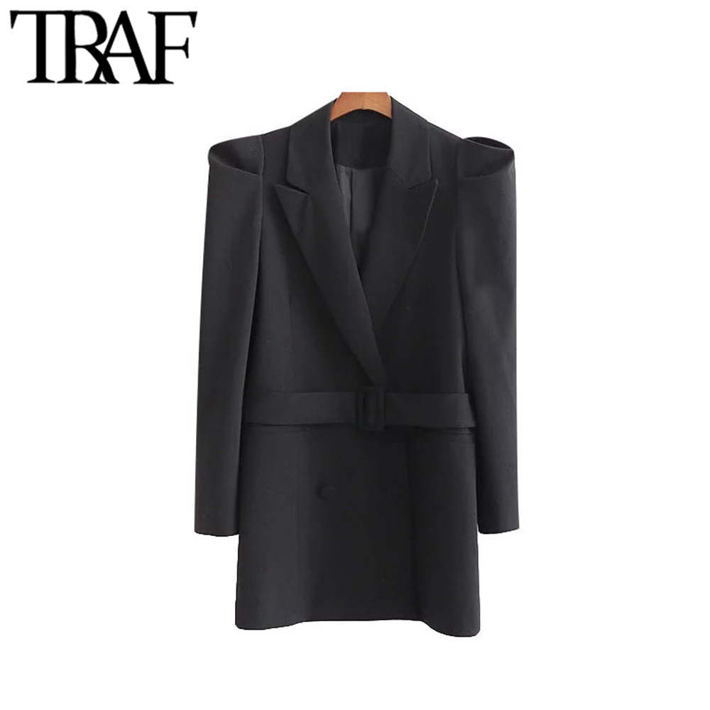 TRAF Women Vintage Stylish Office Wear Double Breasted Blazer Coat Fashion Long Puff Sleeve With Belt Female Outerwear Chic Tops