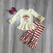 Da queda do outono/inverno meninas do bebê crianças roupas boutique vinho bege unicórnio peru de ação de Graças da listra calças acessórios jogo