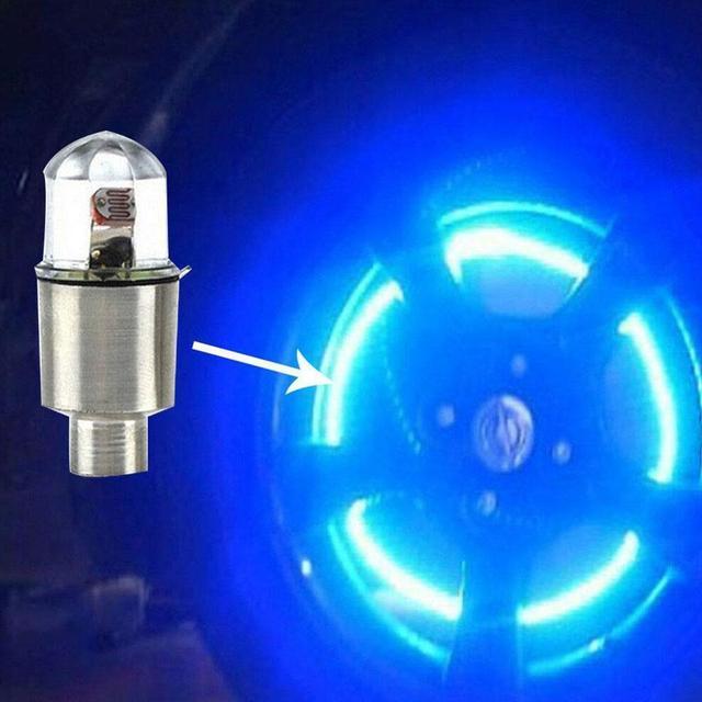 4pcs LED Auto Car Wheel Light  Car Wheel Tyre Tire Valve Stem Cap Light Lamp Bulb Decoration 1