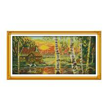 Golden Female Cross Stitch Kit Lanscape Garden 14ct 11ct Count Kanvas Jahitan Bordir DIY Buatan Tangan Menjahit(China)