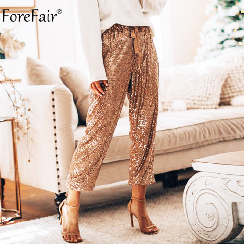 Forefair Sequins Pants Long Party Women High Waist Winter Sexy Spring Autumn Club Trousers Glitter