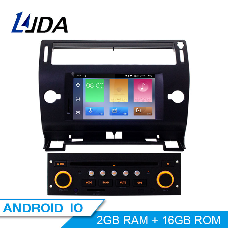 LJDA 1 Din Android 10.0 Car DVD Player GPS Navigation For Citroen C4 Quatre Triumph 2004-2012 Car Multimedia Radio WIFI Audio image