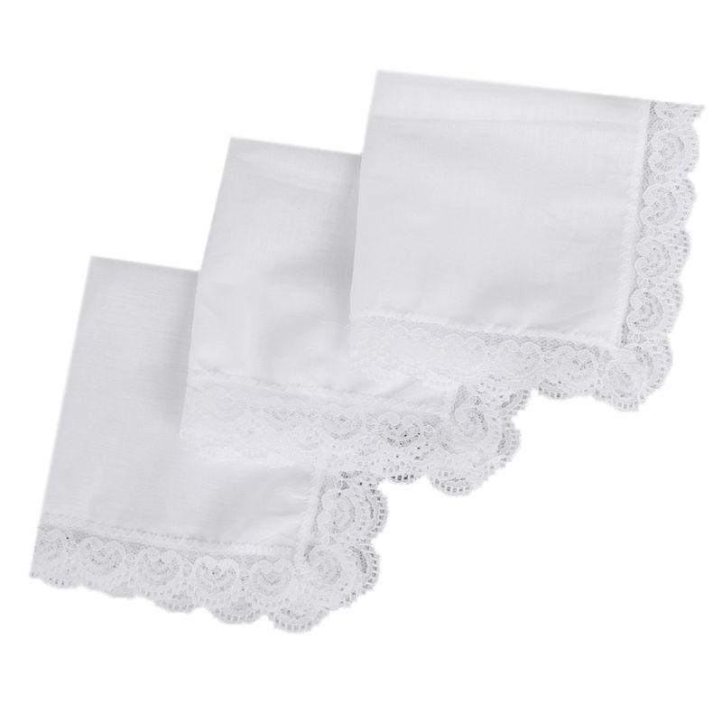 3 Pcs Men Wom Simple Cotton Lace Side Small Square Towel DIY Handmade White Handkerchiefs Casual Hotel Tableware Decoration
