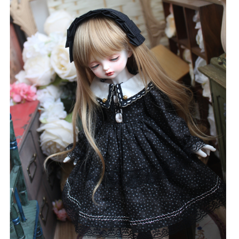 <font><b>BJD</b></font> black color dress with point + hair band for 1/3 1/4 <font><b>1/6</b></font> <font><b>BJD</b></font> SD DD Blyth doll dress doll accessories only <font><b>clothes</b></font> image