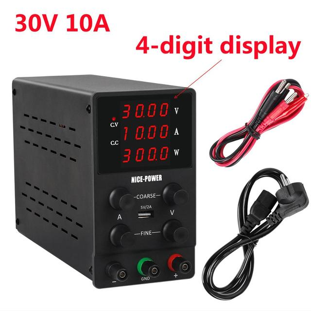 4 Digits USB DC Lab Power Supply Adjustable 30V 10A 60V 5A 120V 3A Accurate Regulated Voltage Regulator Switching Bench Source