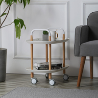 Nordic Modern Minimalist Living Room Small Carts Storage Mobile Coffee Table With Wheels Solid Wood Corner Table Stroller