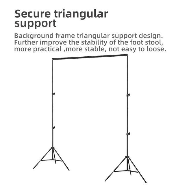 2x2m 6.5ft*6.5ft Backdrop Background Frame Light Stand + 3pcs Clip + Carry Bag Backgrounds Stand Studio Kit 6