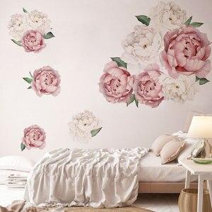 Image 4 - Adesivos de parede peônias rosas e brancas, decoração em aquarela para quarto de crianças, sala de estar, casa, decalque de parede, floral, home decor