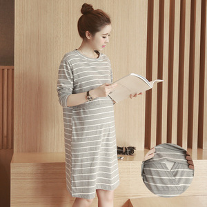 Image 3 - 2019 Spring Autumn Nursing Dress Breastfeeding Maternity Clothes For Pregnant Woman Cotton Striped Lactation Long Dress