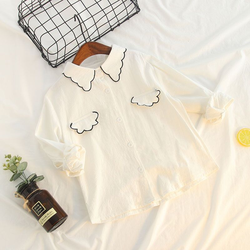 Childrenswear Korean-style Spring And Autumn Girls Western Style Fashion Pure Cotton White Pocket Embroidered Versatile Long Sle