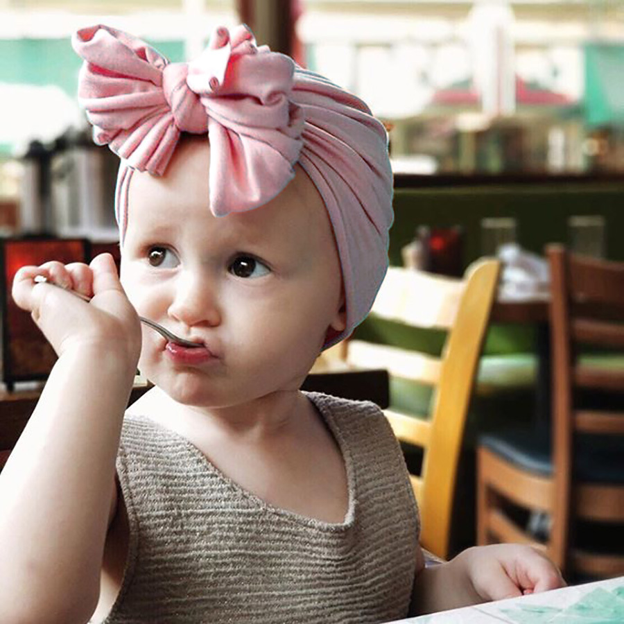2020 Fashion New Bohemia Baby Cotton Bow Turban Hat Solid Color Children Wrap Hijab Head Caps Indian Bonnet For Girls Boys Gift