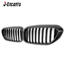 A pair Front Kidney Grille For BMW 5 series G30 G38 2017- Carbon fiber black Bumper Grill